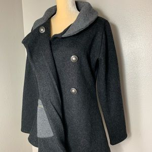 Icelandic Design Jackets & Coats - Icelandic Design Charcoal Wool Outerwear M